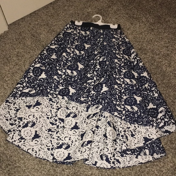 Anthropologie Dresses & Skirts - Anthropologie high-low navy floral skirt